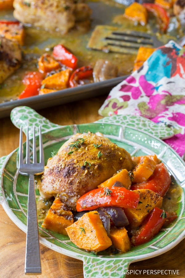 The Best Healthy Caribbean Chicken Curry Sheet Pan Dinner (Low Carb, Gluten Free, and Dairy Free!)
