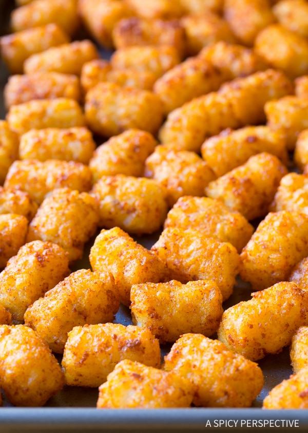 Zesty Taco Tater Tots (Two Ways!) An easy party recipe you can lighten-up! #glutenfree #lowfat