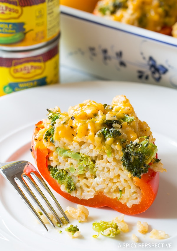 Broccoli Rice and Cheese #ASpicyPerspective #StuffedPeppersRecipe #StuffedPeppers #VegetarianStuffedPeppers #StuffedPepperswithRice #HealthyStuffedPeppers #BroccoliRice #Cheese #Broccoli #Rice #Vegetarian