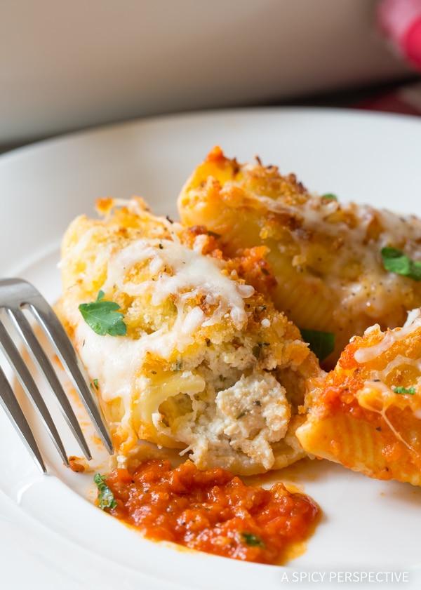 The Perfect Chicken Parmesan Stuffed Shells