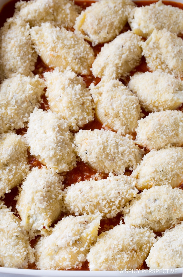 Simple to Make Chicken Parmesan Stuffed Shells