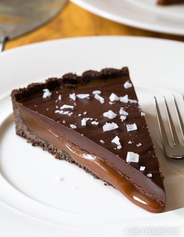 Salted Caramel Chocolate Tart (Gluten Free!) #valentinesday