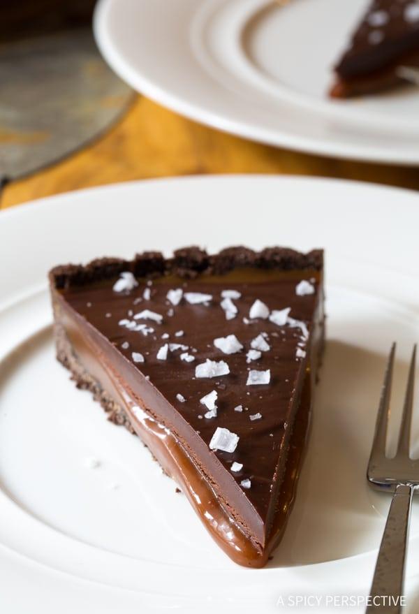 The Best Salted Caramel Chocolate Tart (Gluten Free!) #valentinesday