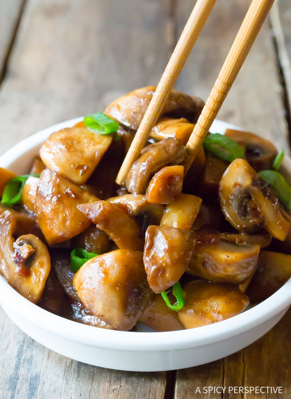 Asian Stir Fried Mushrooms Recipe #ASpicyPerspective #Mushrooms #StirFry #MushroomStirFry #AsianMushroom #Asian #SideDish #Vegetarian #Healthy #LowCarb #LowFat