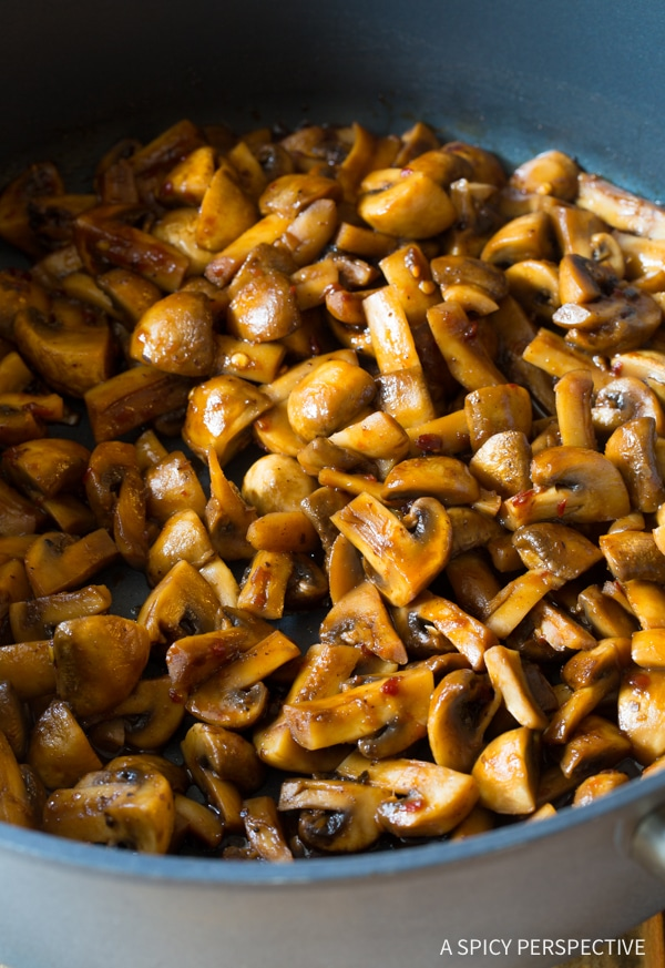 Mushroom Stir Fry #ASpicyPerspective #Mushrooms #StirFry #MushroomStirFry #AsianMushroom #Asian #SideDish #Vegetarian #Healthy #LowCarb #LowFat