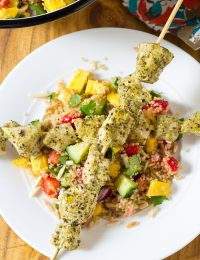 Pesto Chicken Kebabs with Cool Quinoa Pilaf