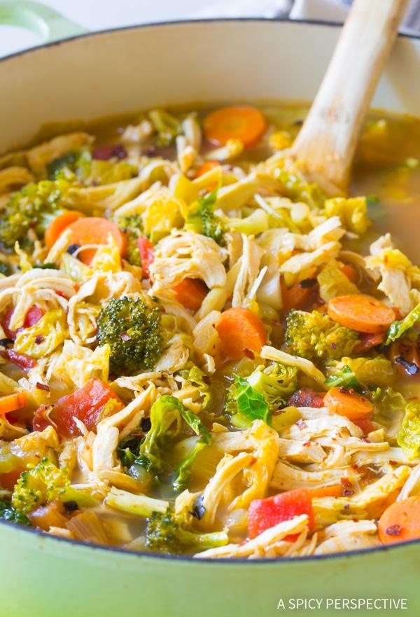 Southwest Chicken Detox Soup Recipe #ASpicyPerspective #Cleanse #Detox #Diet #Soup #Chicken