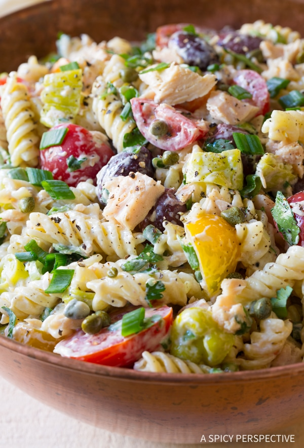 Best Cold Tuna Pasta Salad with Olives and Capers Recipe