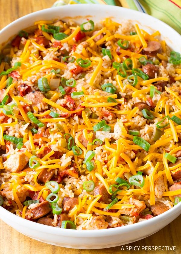 Simple Cheesy Cajun Chicken and Rice Casserole Recipe #jambalaya