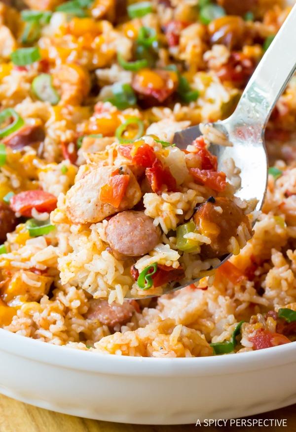 Best Cheesy Cajun Chicken and Rice Casserole Recipe #jambalaya