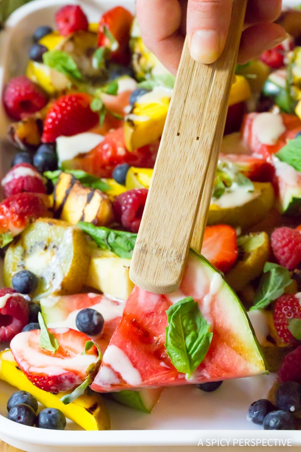 Sweet Grilled Fruit Salad with Creamy Lime Dressing Recipe