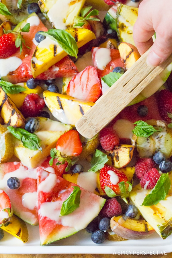 Amazing Grilled Fruit Salad with Creamy Lime Dressing Recipe