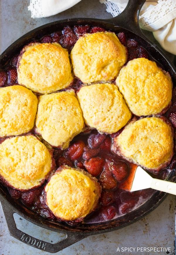 Strawberry Shortcake Skillet Cobbler Recipe