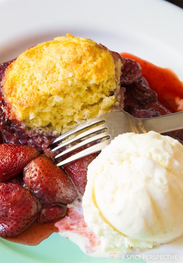 Dazzling Strawberry Shortcake Skillet Cobbler Recipe
