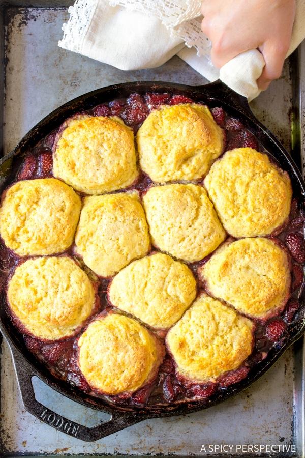 The Best Strawberry Shortcake Skillet Cobbler Recipe