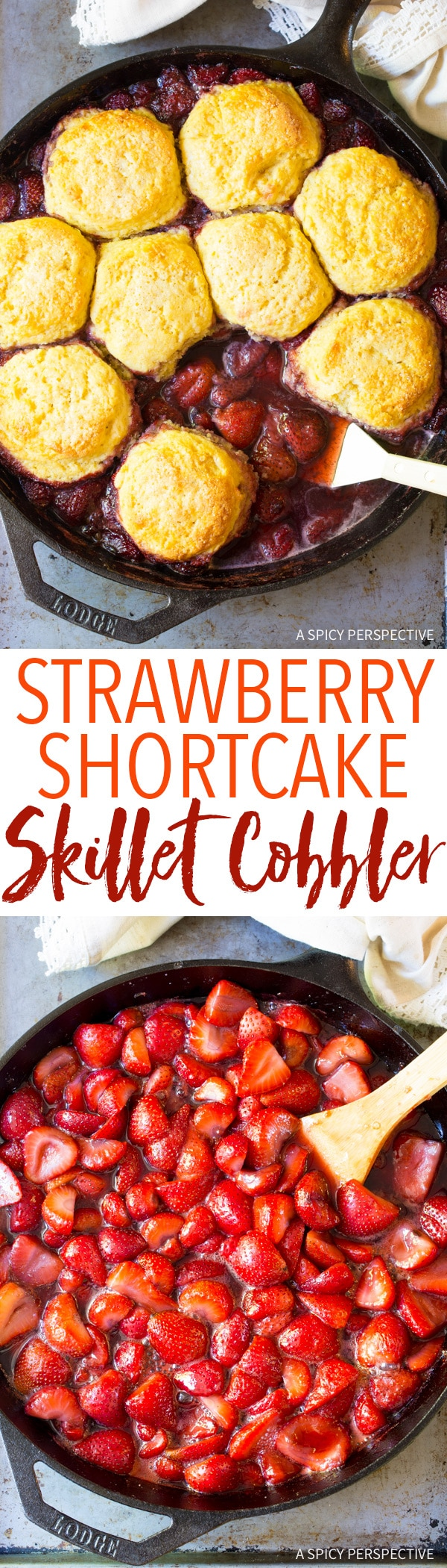 Roasted Strawberry Shortcake Skillet Cobbler Recipe