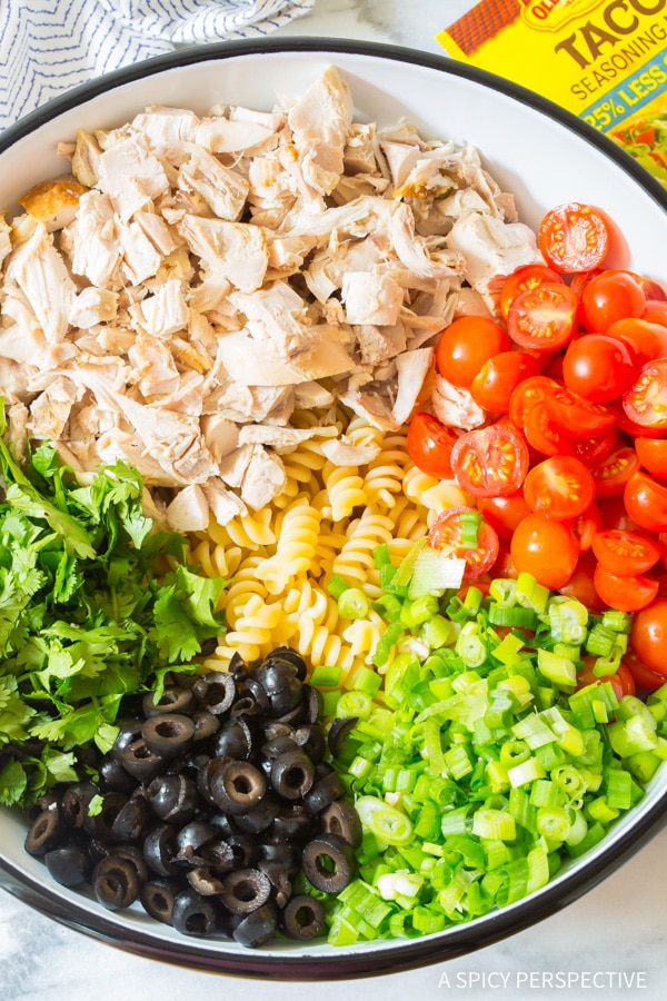 Making Cool Chicken Taco Pasta Salad Recipe #best #mexican #summer
