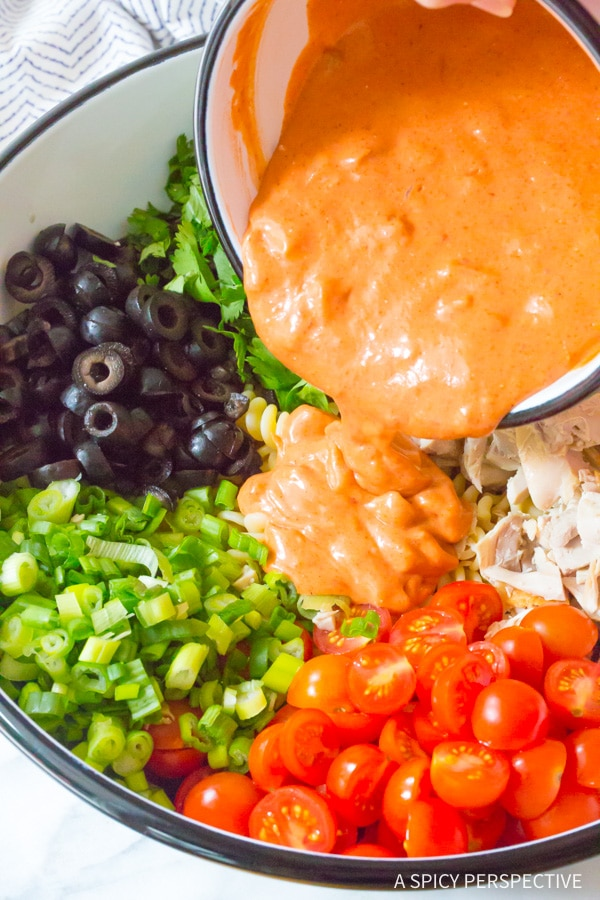 Making the Best Chicken Taco Pasta Salad Recipe #best #mexican #summer