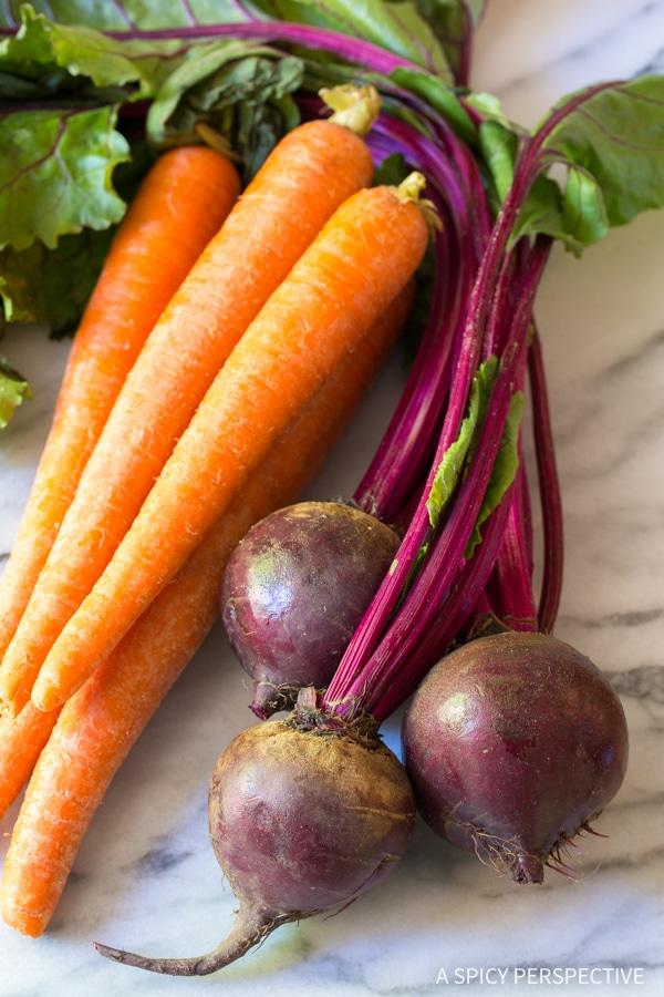 Making Crunchy Beet Carrot Slaw (Healthy, Gluten Free & Vegetarian)