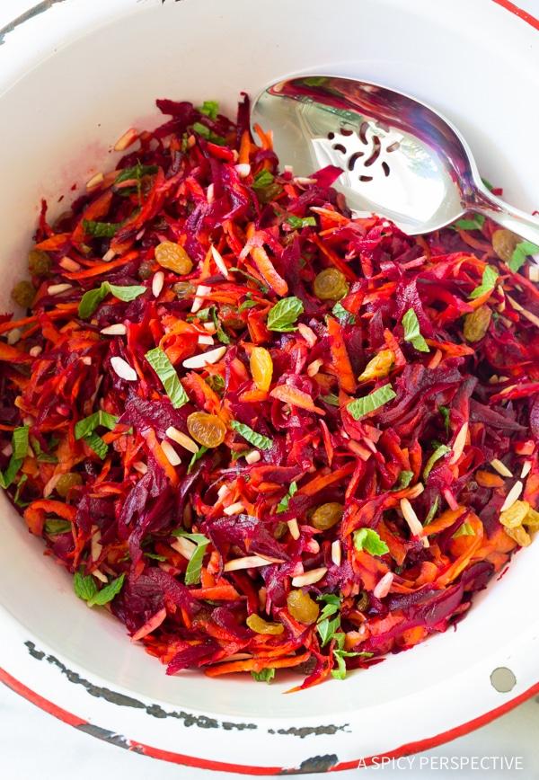 Simple Crunchy Beet Carrot Slaw (Healthy, Gluten Free & Vegetarian)
