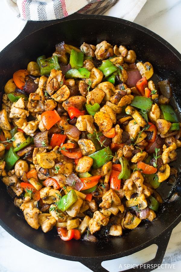 Simple Croatian Chicken Mushroom Pepper Skillet Recipe