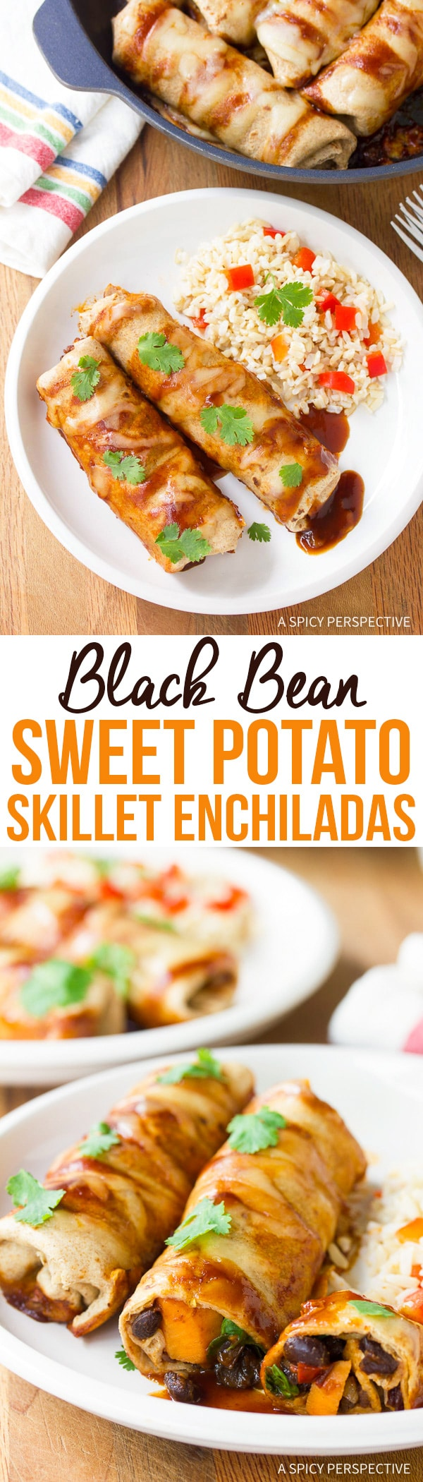 Vegetarian Black Bean Sweet Potato Skillet Enchiladas Recipe