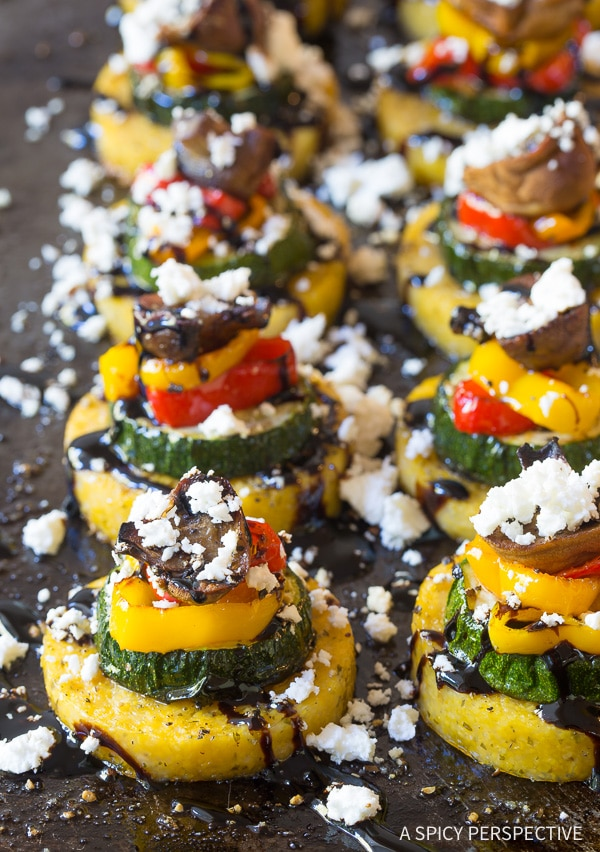 Dazzling Sheet Pan Roasted Vegetable Polenta Stacks - A Vegetarian and Gluten Free Recipe!