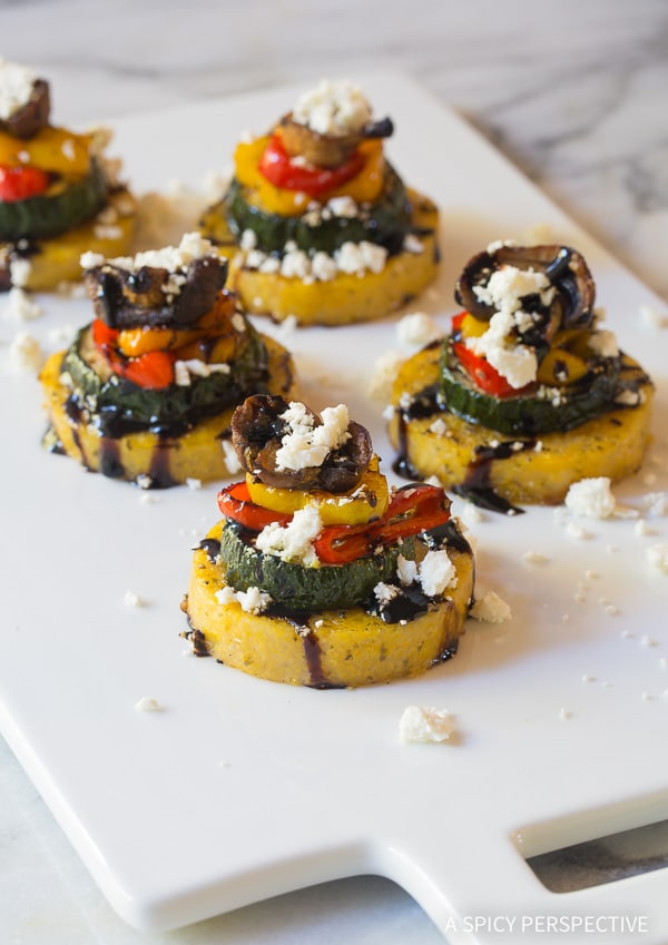 Light Sheet Pan Roasted Vegetable Polenta Stacks - A Vegetarian and Gluten Free Recipe!