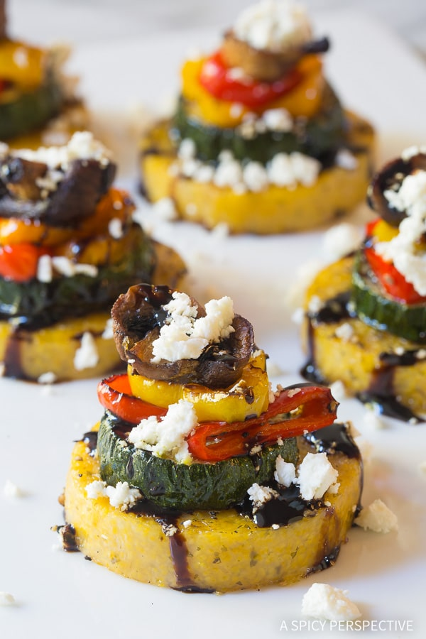 Healthy Sheet Pan Roasted Vegetable Polenta Stacks - A Vegetarian and Gluten Free Recipe!