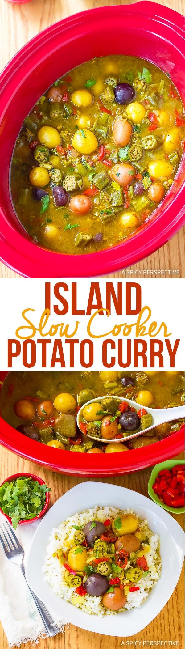 Island Slow Cooker Potato Curry Recipe (Vegetarian!)