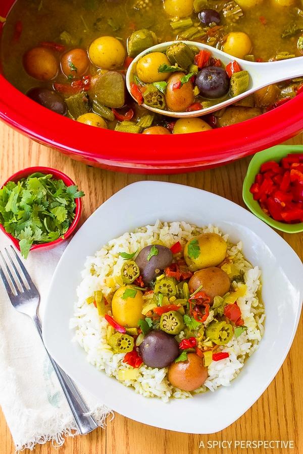 Perfect Island Slow Cooker Potato Curry Recipe (Vegetarian!)