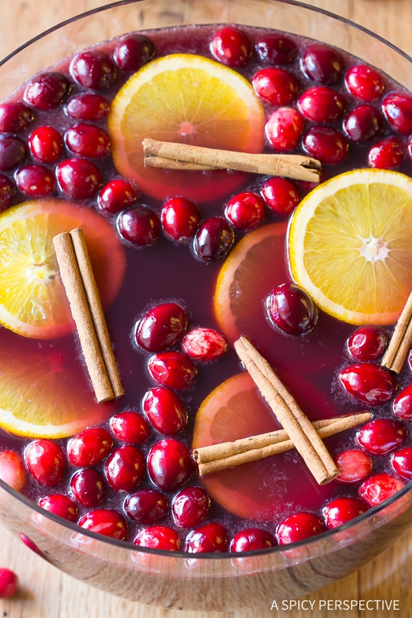 Festive Holiday Wine Punch Cocktails