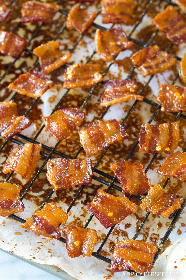 Crunchy Bourbon Candied Bacon Bites - AKA Pig Candy