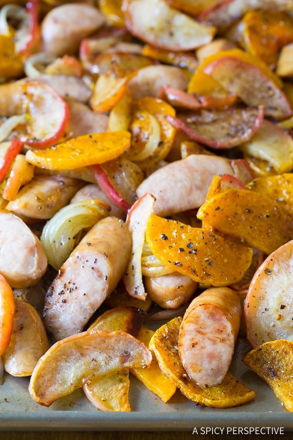 Rustic Chicken Sausage Apple Squash Sheet Pan Dinner