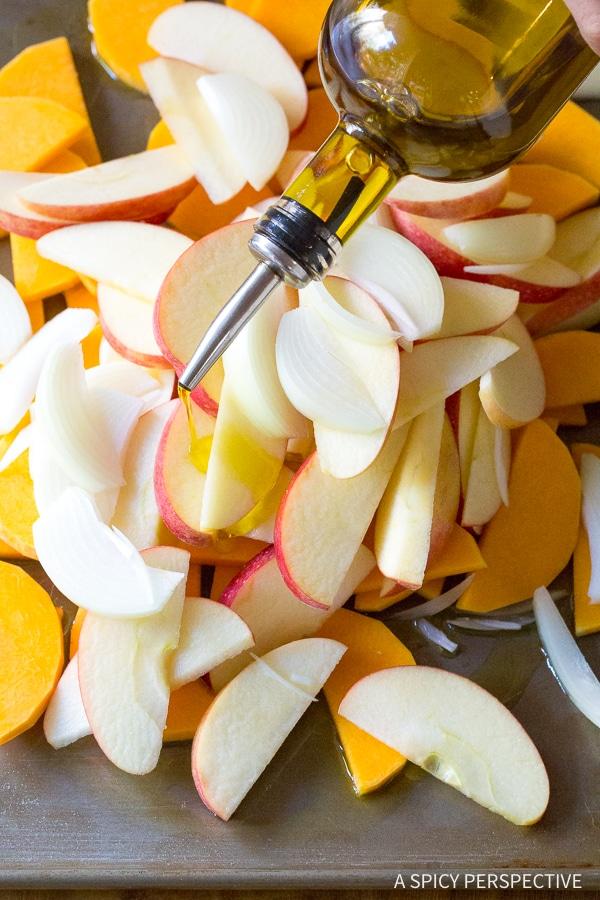 Making Chicken Sausage Apple Squash Sheet Pan Dinner