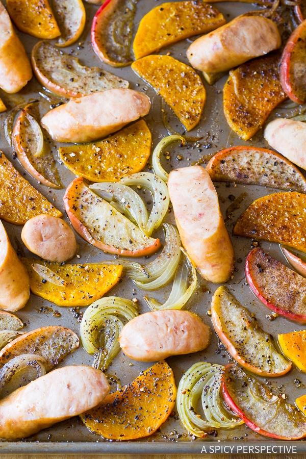 Chicken Sausage Apple Squash Sheet Pan Dinner