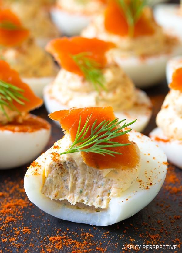 Creamy Low Carb Smoked Salmon Dip Deviled Eggs Recipe