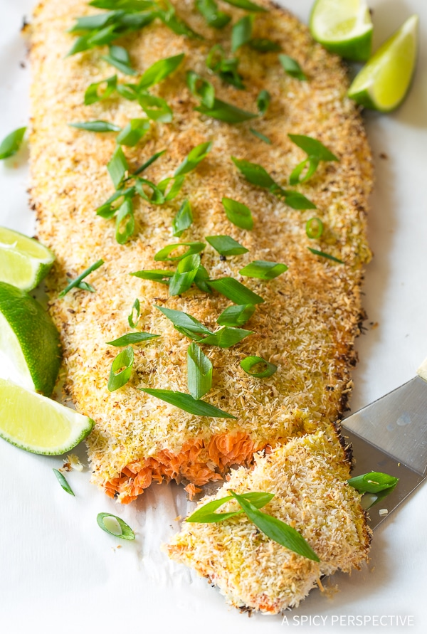 Healthy Green Curry Coconut Crusted Baked Salmon Recipe