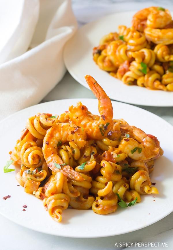 Best Skillet Shrimp Fra Diavolo Pasta Recipe (with Instant Pot instructions!)