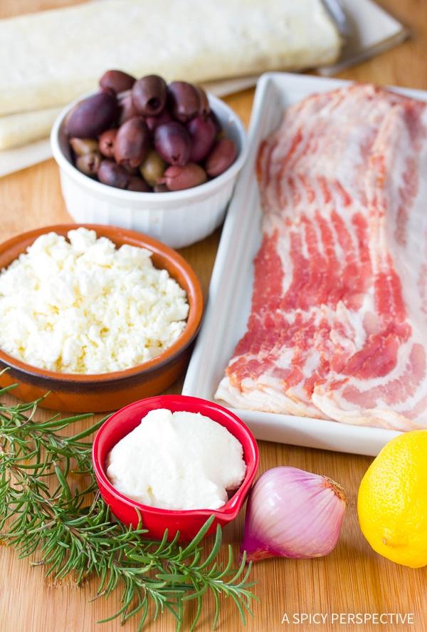 Making Bacon Kalamata Cheese Puffs Recipe