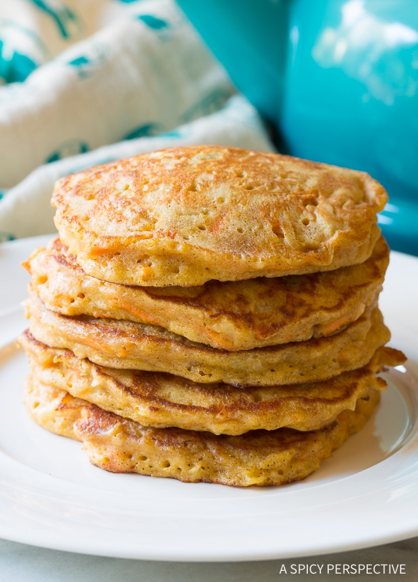 Best Easy Carrot Cake Pancakes with Cream Cheese Maple Syrup Recipe (Gluten Free & Vegan Options!)