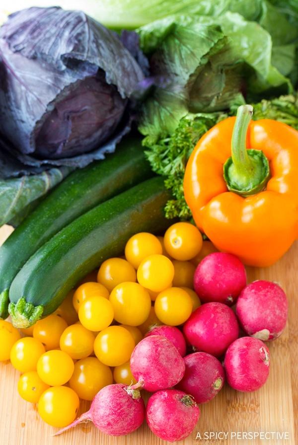 Making Healthy Rainbow Chopped Salad Recipe