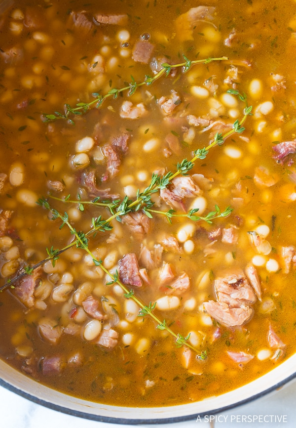 Ham and Bean Soup #ASpicyPerspective #HamAndBeanSoup #NavyBeans #HamAndBeans #NavyBeanSoup #BeanSoup #Soup
