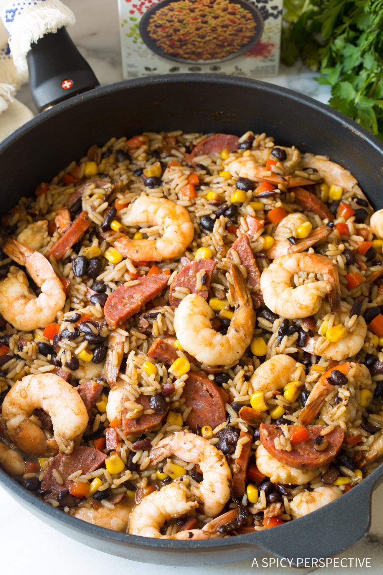 Simple One-Pot Shrimp Black Bean Rice Skillet Recipe