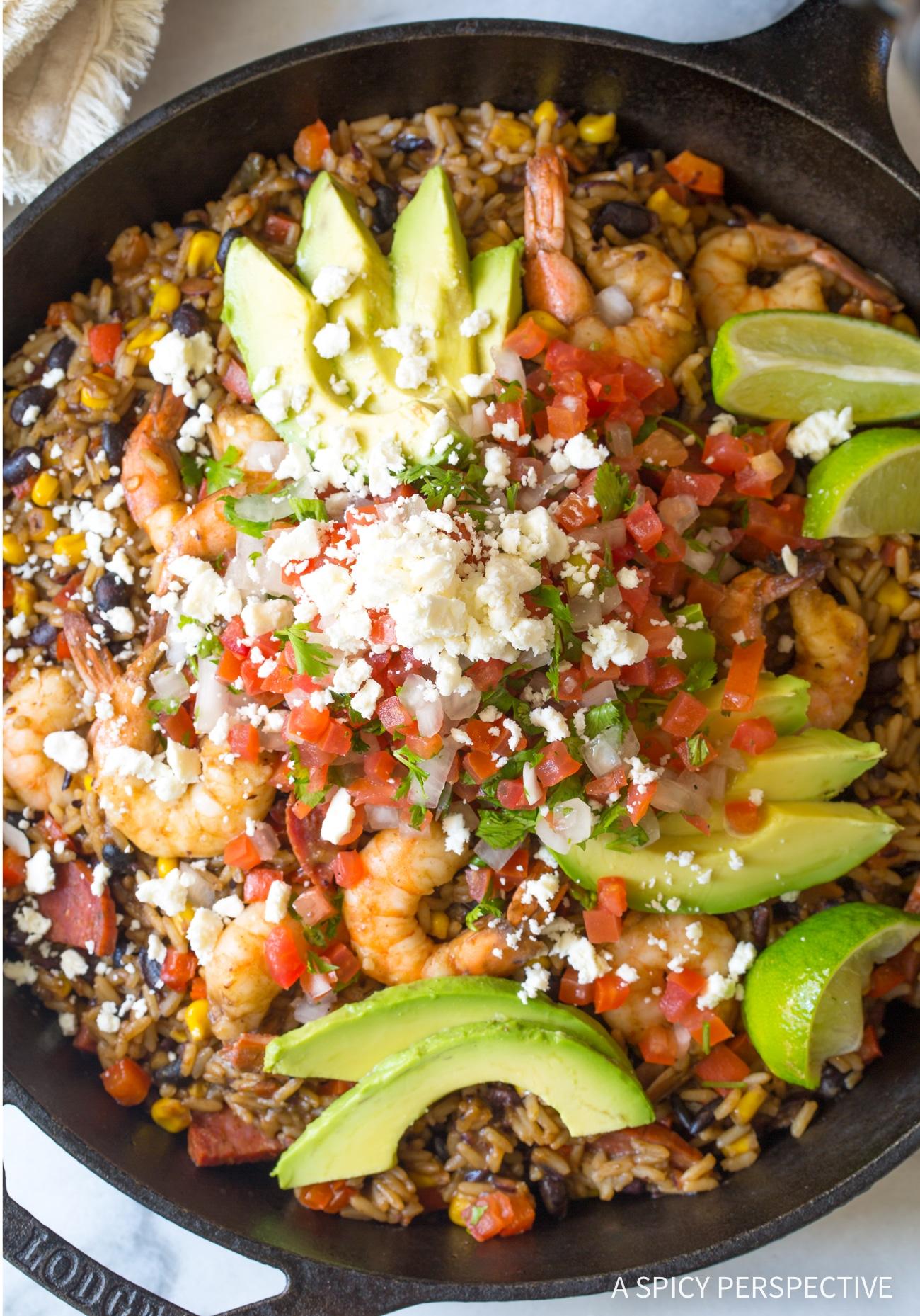 Tex-Mex One-Pot Shrimp Black Bean Rice Skillet Recipe