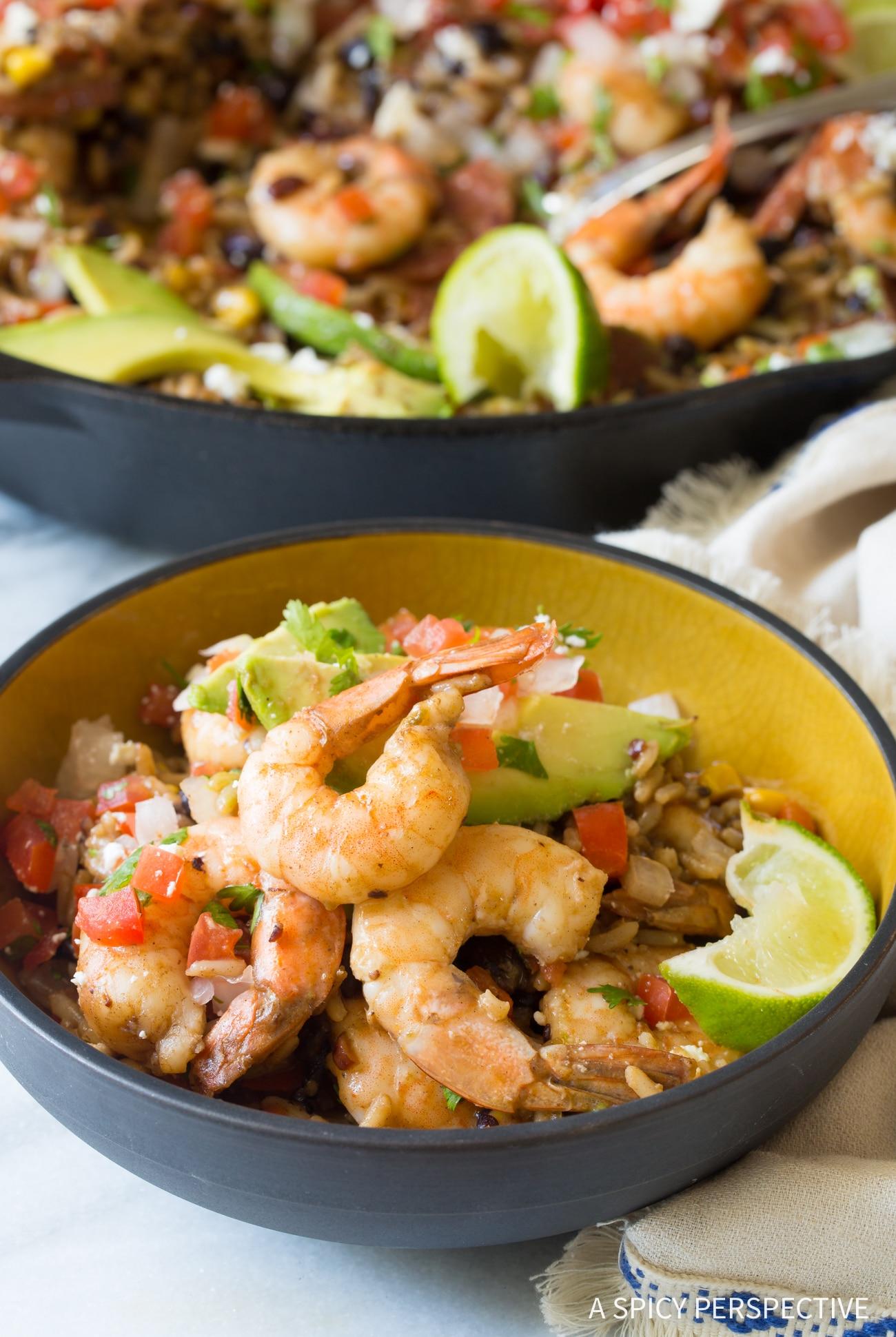 Perfect One-Pot Shrimp Black Bean Rice Skillet Recipe