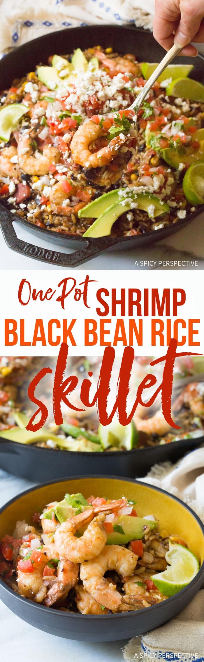 Amazing One-Pot Shrimp Black Bean Rice Skillet Recipe