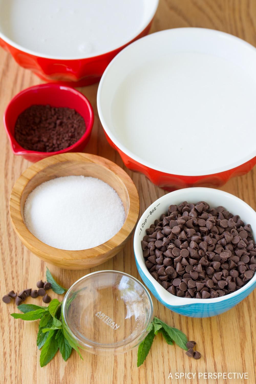 Making No-Churn Mocha Mint Chip Vegan Ice Cream Recipe