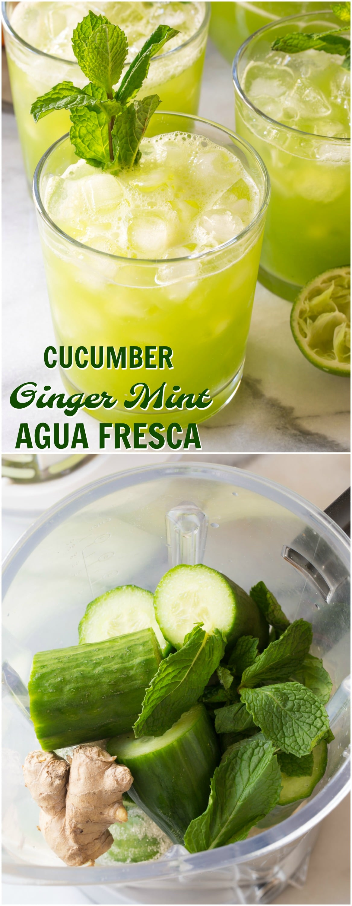 "Cucumber Ginger Mint Agua Fresca Recipe - A refreshing ""mocktail"" nonalcoholic beverage recipe with lime juice, cucumbers, mint leaves, and fresh ginger. Add vodka or tequila to kick things up for perky summer cocktail!"