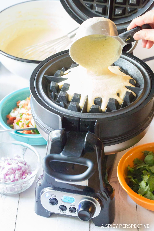 Making Waffle Iron Quesadillas Recipe #ASpicyPerspective #onepot